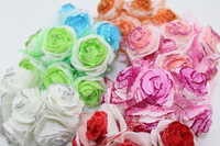 Free Shipping 3.5cm head Multicolor PE rose with organza flower Bouquet with glitter artificial rose flowers(72pcs/lot)