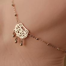 Fashion High quality Longevity lock Design Titanium Steel Rose Gold Women Barefoot Sandals Anklet Foot Chain