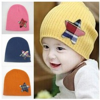 free shipping 1-4 years old baby star keep warm knitted hat , Autumn and winter wool cap