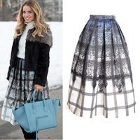 2014 New Summer Autumn Women's Vintage 50s Hepburn Lace pattern & Plaid Print Pleated Midi Skirt Swing Skirt Ball Gown Skirt