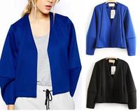 2014 NEW Autumn Women's Fashion Vintage V Neck Long Bat Sleeved Short Blazer Loose Casual Jacket Coats Suits Tops