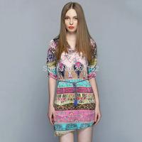 women's Summer dress 2014 fashion print high quality one-piece dress V-neck women's one-piece dress short skirt