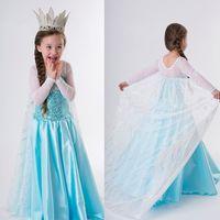 New Frozen Princess Queen Elsa Gown Dress Up Kids Party Wedding Fancy Cosplay Girl Kids Child Dresses Costume 3-8Y