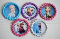 30 sets/lot frozen bottle caps frozen buttons 5 picture, bottle cap flat 20 colors, you can pick bottle cap match frozen picture