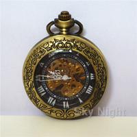 Black Pentern Case Brozen Vintage Fashion Automatic Self-wind Pocket Watch Mechanical Men Women Pocket Watch +Chain Roma Special