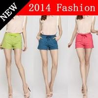 Hot Sale! New 2014 summer women fahsion shorts elastic waist Mini hot pants sweet ladies casual pants 3 colors M-XL  716YW