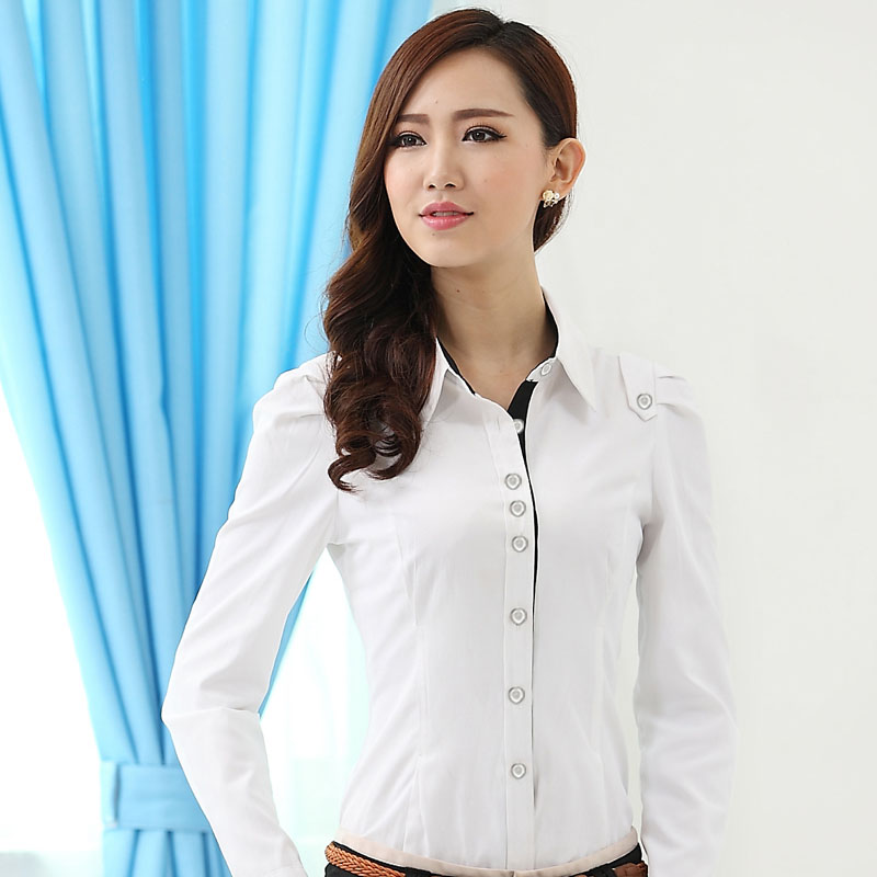 2014 New Fashion Lady Turn-Down Collar Long-Sleeve Women's Shirt Formal OL Slim Female Work Wear Epaulet Blouse Tops(China (Mainland))