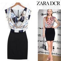 New 2014 Fashion Leisure Slim Thin Temperament V-neck chiffon print dresses women summer dress S-XXL