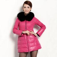 2014 leather clothing female genuine leather down coat slim fur fox medium-long sheepskin outerwear