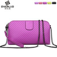 Genuine leather plaid knitted women's handbag small bag shoulder bag messenger bag chain women's bags