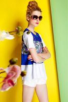 Silk Cotton Blouse-1758/Fashion OL Women Tops/2014 New Spring&Summer Exclusive Fashion Desigual/S,M,L