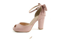 MEMOO 2014 Summer Women Fashion High Thick Heels Peep toe  Bowtie Casual Soft Leather Apricot Pink Sandals US Size 4-12 A2542