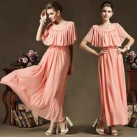 2014 New Summer Women Dress Bohenmia Pleated Wave Lace Strap Princess Chiffon Maxi Long Dress Small Cape Style Elegant Dresses