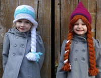 New Arrival Custom made Elsa & Anna (Frozen) Crocheted Hat Pattern .knitting hat! drop shipping .hat sale.6pcs/lot.