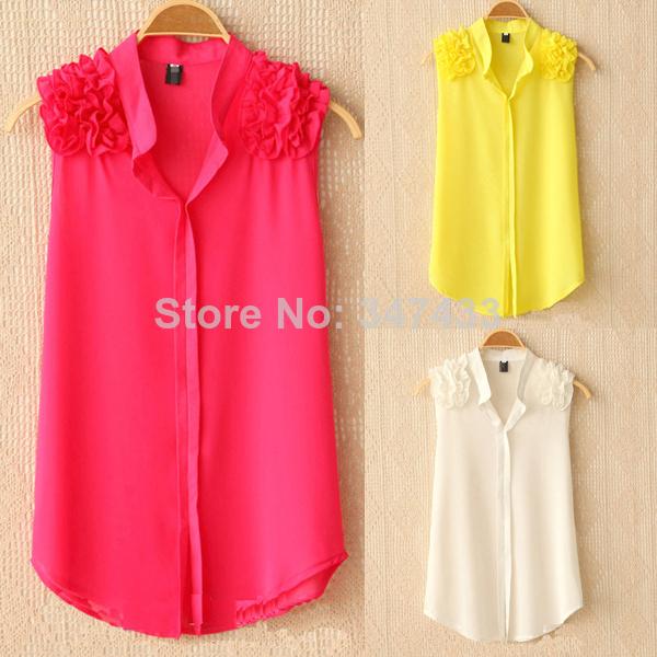 AliExpress.com Product - Female shirts sleeveless blouse loose top yellow white blouse women roupas blusa chiffon xxxl plus size clothing BWC072