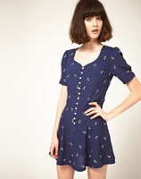 Hot Sale 2014 New Autumn American&European Fashion Kapok Silk Super Soft Slim Printed Waist Dress Free Shipping
