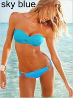 2014 new summer Bra sexy split bikini set 2 pcs swimwear bikini hot  bathing Multicolor gather vintage bathing beach triangl