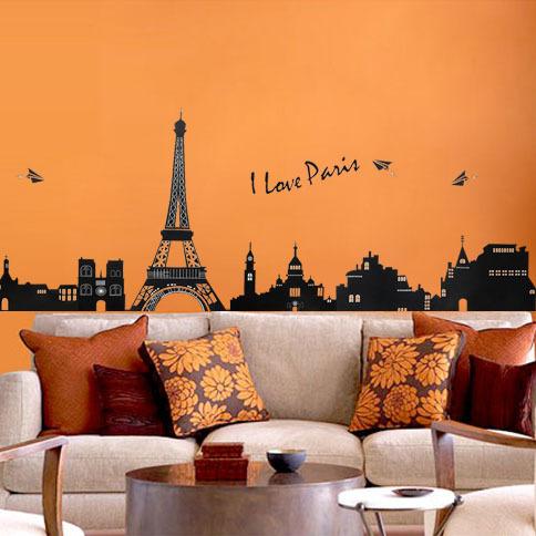 Removíveis adesivos de parede sala cabeceira TV fundo adesivos de parede room decor torre Eiffel edifício(China (Mainland))