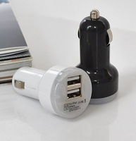 1PCS Free Shipping Portable mini car charger  Universal 2.1A 1.0A 2 USB port car charger adapter for Iphone tablet black white