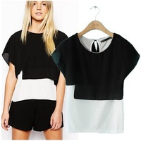 2014 spring and summer new European style  black and white stitching fake two short-sleeved T-shirt fashion women's blouse
