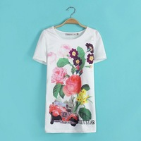 Free shiping 2014 spring and summer new European style two -color stitching letter flower print T-shirt round neck Blouse
