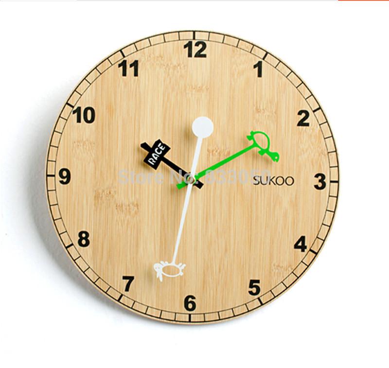 Hot Sale 2014 Hare and the Tortoise Creative Bamboo Wall Clock(China (Mainland))