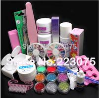 Pro Full Acrylic Powder Liquid French Nail Art Brush Glue UV Tip Kit Set
