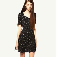 Hot Sale 2014 New Autumn American&European Fashion Vintage Short Sleeve Slim Printed Waist Dress Plus Size XS-XXL