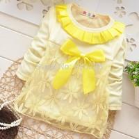 New 2014 Girls T-shirt Lace Yarn Baby Girls Long Sleeve Shirt Children Clothing Kids Fall Clothes Child Autumn Outerwear