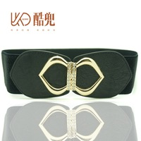 Female cummerbund one-piece dress belt fashion all-match women's cummerbund love elastic buckle belt black