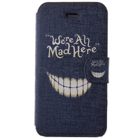 Good Quality Crazy Teeth Pattern Leather PU Cover Phone Cases Free Shipping Case for iPhone 4 4s