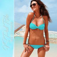 2014 new summer bikini girl bikini swimsuit hot SET 2pcs big chest small chest gather swimsuit vintage bathing beach triangl