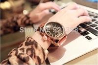 real cow leather fashion women watch big dial Retro classic watch beautiful women watch