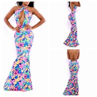 2014 summer backless floral Hawaiian mermaid maxi prom dress celebrity long outfit cocktail sexy club party birthday beach