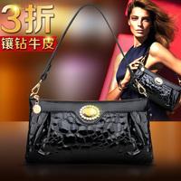 100% Genuine leather women's one shoulder messenger bag japanned leather small bag stone pattern patent leather handbag