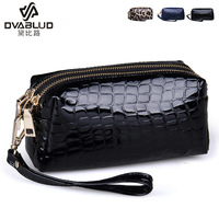 Double zipper 2014 day clutch genuine leather clutch little large capacity female japanned leather clutch bag coin purse