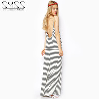 Free Shipping 2014 fashion o-neck slim spaghetti strap black and white stripe racerback full dress XS S M L XL XXL