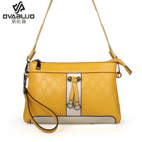 Genuine leather bow women's handbag small bags summer candy color block shoulder bag messenger bag