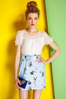 Silk Chiffon Dress-1727/Fashion OL Women Dresses/2014 Summer New Desigual Cute Dress/S,M,L