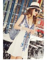 2014 Summer Hot Sale Sleeveless Women Dress Cute Girl Vest/Tank Falbala Beach Ethnic Style Braces Skirt Embroide Beading