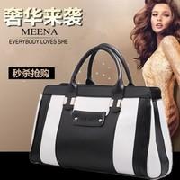 genuine leather women's handbag cowhide female shoulder bag black and white portable