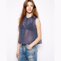 Ladies Shirts Women Polka Dot Sleeveless Blouse Perspective Chiffon Shirt Plus Size Summer Tops Loose Botton Crop Top