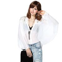 Women Tops Fashion 2014 Openwork Embroidery Stitching Loose Chiffon Blouse V neck Lace Top Crochet Long Sleeve Shirt White