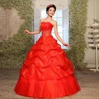 2014 red section sweetheart bridal wedding dress tube top wedding dresses