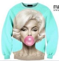 Best Quality 2014 new girl Casual novelty 3D Marilyn Monroe Blow bubbles women men pollover sweatshirts HOODIES IN STOCK