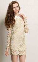 2014 Jacquard Over Lace Dress, Long Sleeves Dresses For Women, Plus Size vestidos desigual women summer dress clothing