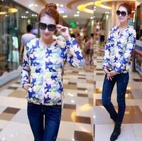 Free shipping 2014 fashion slim short design down jacket women Floral wadded jacket cotton-padded jacket winter coat women C1789