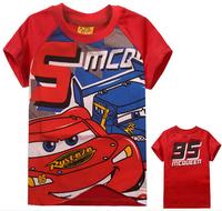 xlbb36 new 2014 cars design short sleeve boys t shirt 2-8 age red color boys clothing free shipping 6pcs/ lot