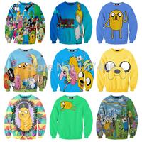 New 2014 Fashion Adventure Time Print Women Hoodies Cartoon Female SWEATSHIRT Pullovers Cotton Drop Shipping