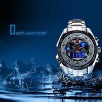 2014 Sports men watches full steel Quartz military Watch city Hunter LED Pointer 30AM Waterproof men wrist watch